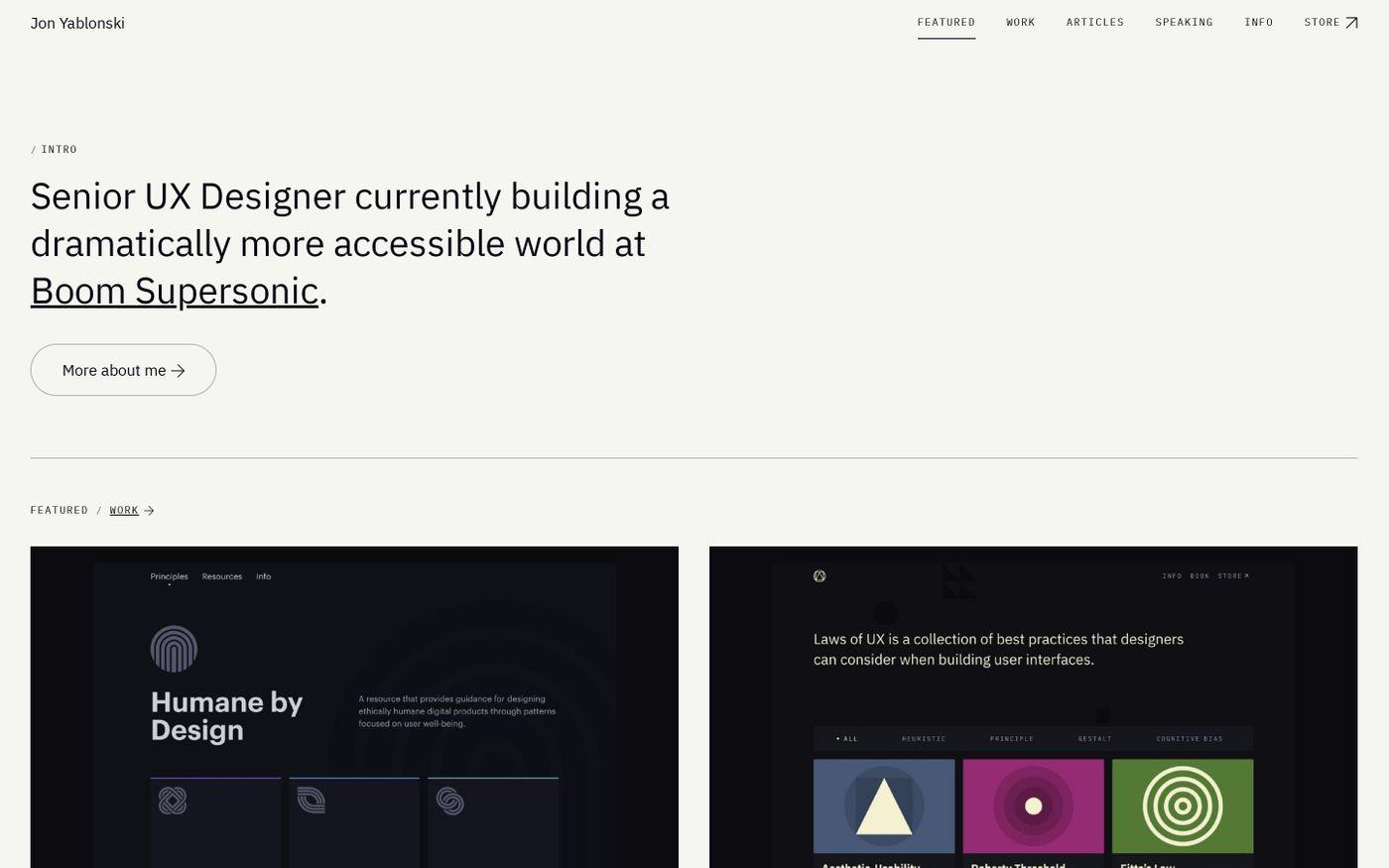 Screenshot of Jon Yablonski website