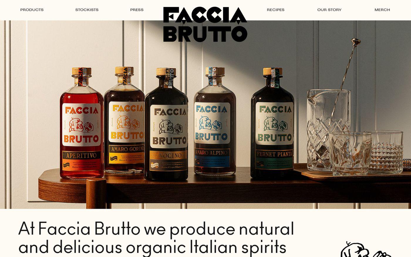 Screenshot of Faccia Brutto Spirits website