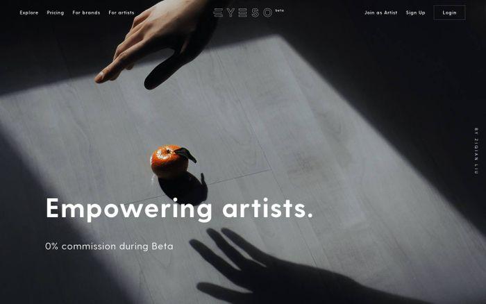Screenshot of EYESO • Empowering artists. Powering brands.