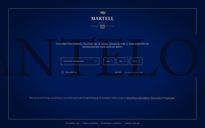 Screenshot of Martell cognac website