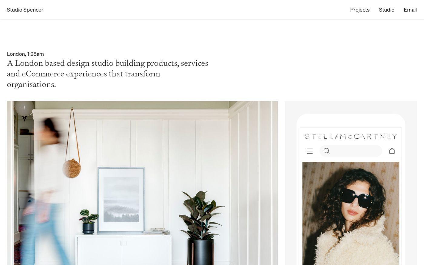 Screenshot of Studio Spencer website