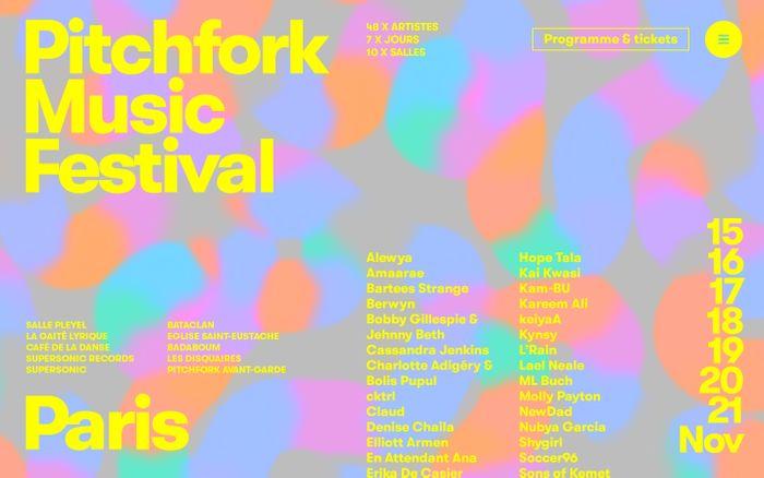 Screenshot of Pitchfork Music Festival Paris website