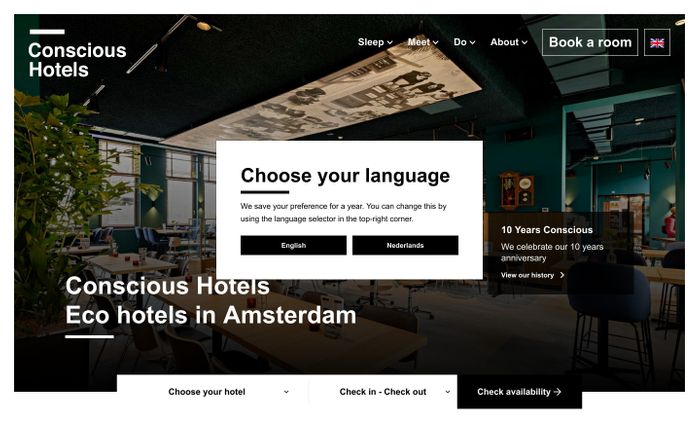 Screenshot of Eco hotels in Amsterdam - Conscious Hotels website