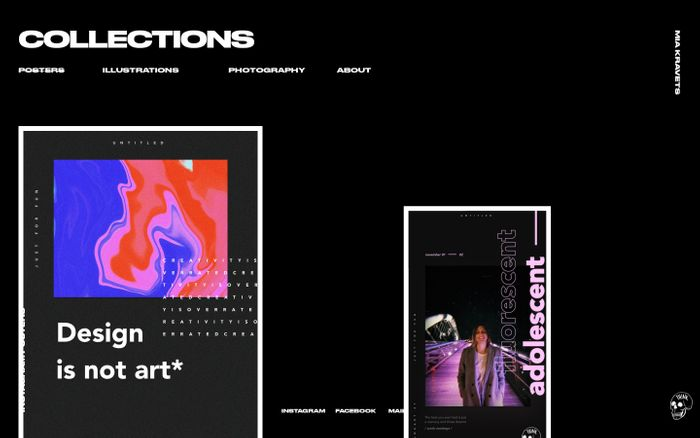 Screenshot of COLLECTIONS / POSTERS | MIA KRAVETS