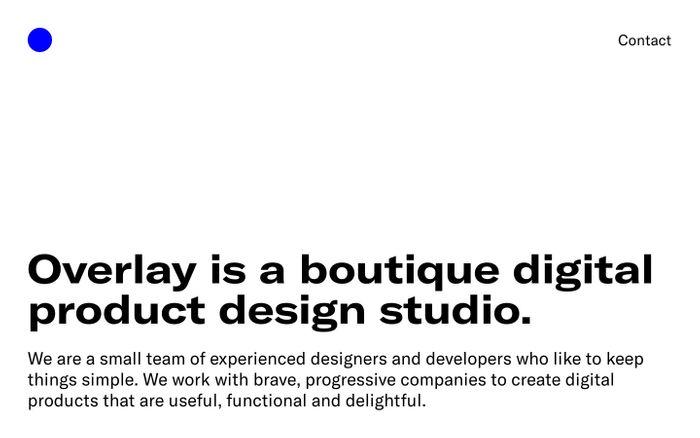 Screenshot of Overlay – Digital Product Design Studio website