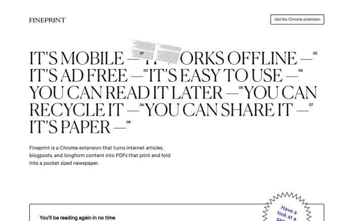 Screenshot of Fineprint website