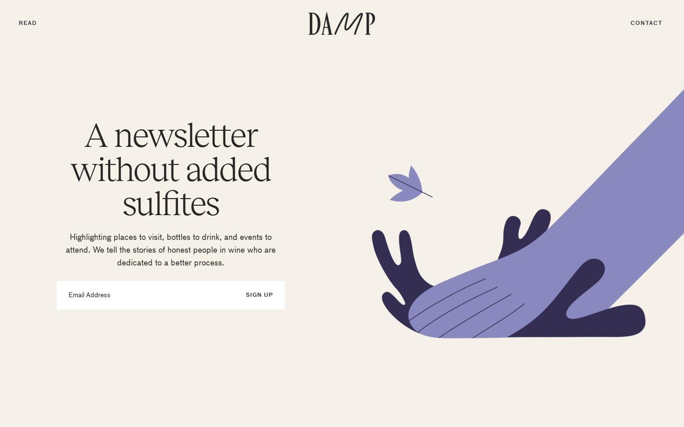 Screenshot of Damp wine website
