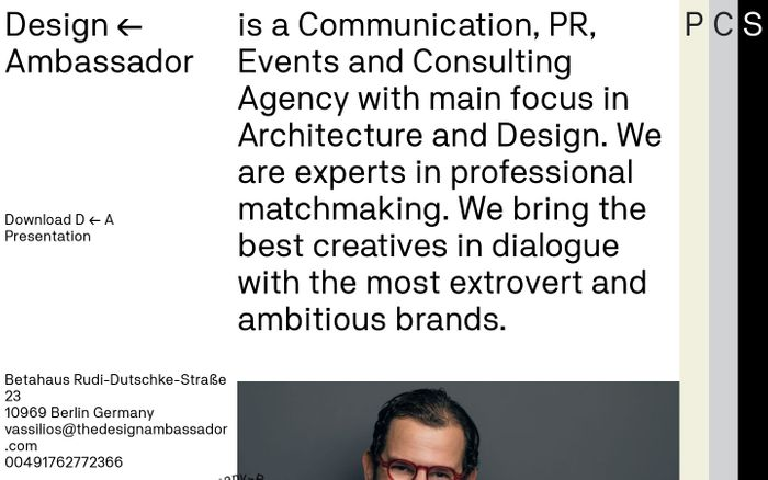 Screenshot of Design ← Ambassador - Consultation agency in Berlin, Germany