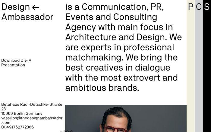 Screenshot of Design ← Ambassador - Consultation agency in Berlin, Germany website