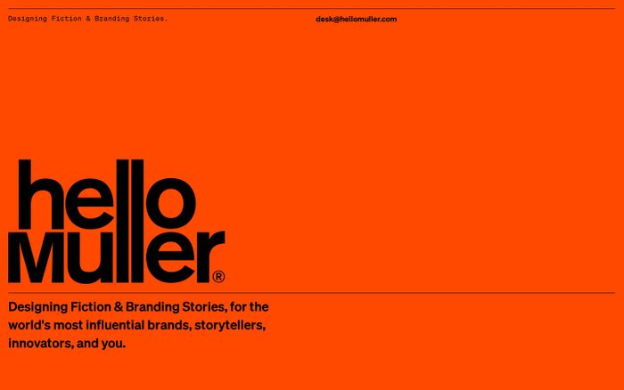 Screenshot of helloMuller — Designing Fiction & Branding Stories.