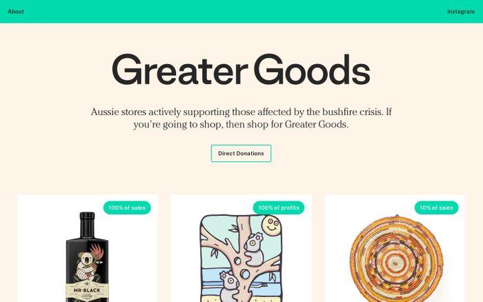 Screenshot of Greater Goods
