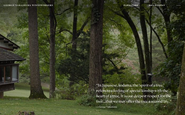 Screenshot of George Nakashima Woodworkers - New Hope, Pennsylvania