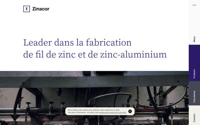 Screenshot of Leader dans la fabrication de fil de zinc et de zinc-aluminium - Zinacor