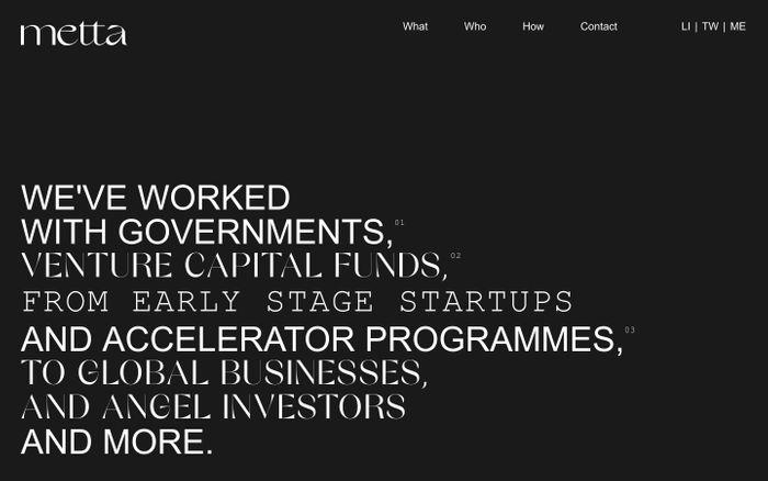 Screenshot of Metta website