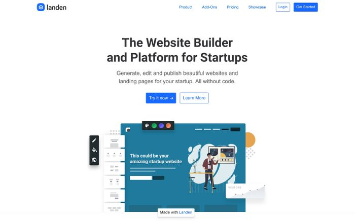 Screenshot of Landen: The Website Platform for Startups