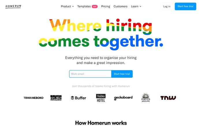 Screenshot of Homerun website