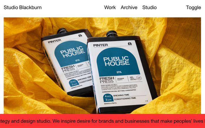 Screenshot of Studio Blackburn website