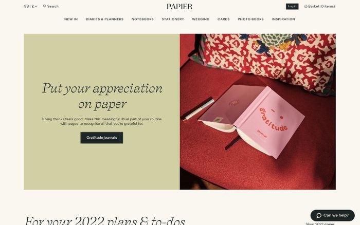 Screenshot of Papier website
