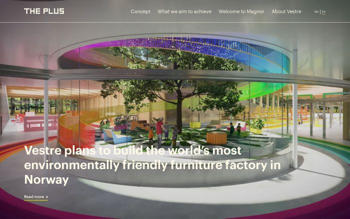 Screenshot of The Plus | The world's most environmentally friendly furniture factory