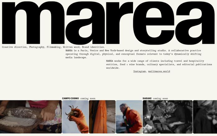 Screenshot of Marea website