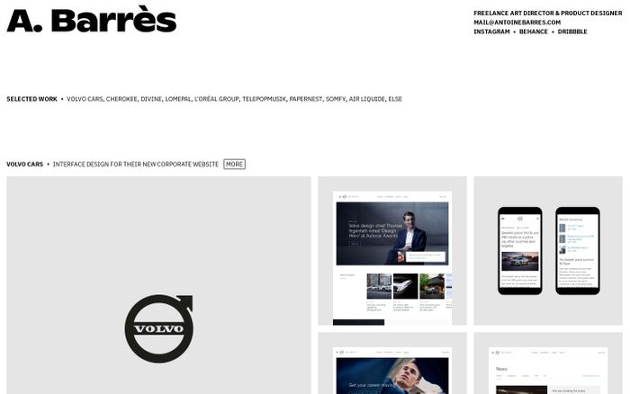 Screenshot of Antoine Barrès website